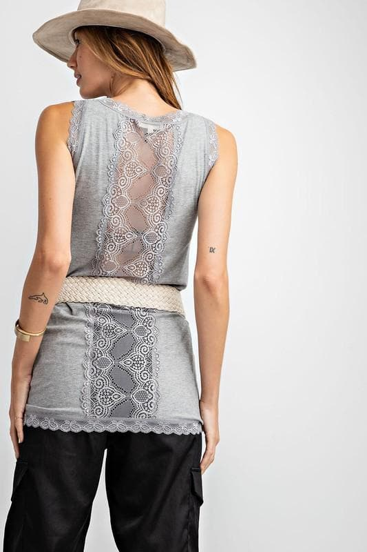 Easel - Light Sheer Knit Back Lace Fitted Tunic Tank Top