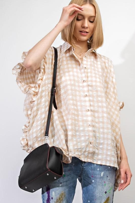 Boxy Gingham Plaid Button Down Tunic Top