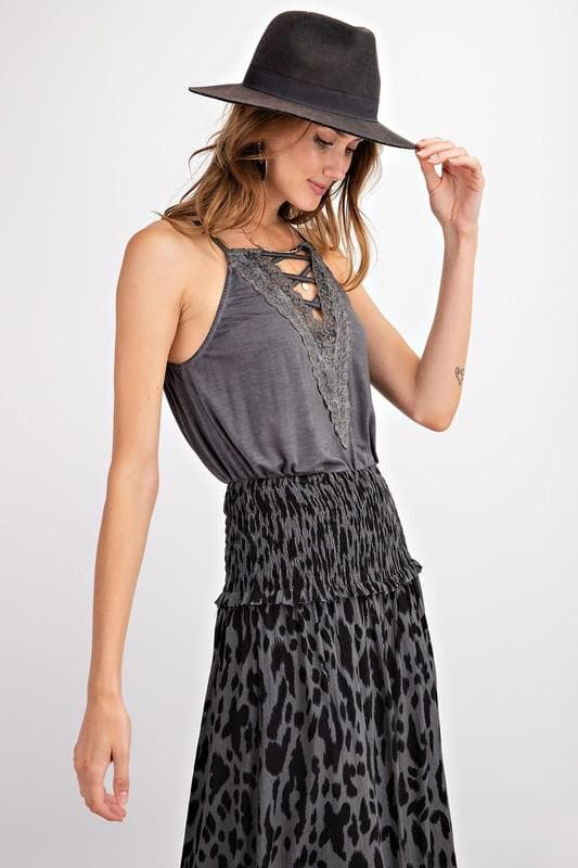 Plus Size Jolie Sleeveless Lace Up Front Cami Tunic