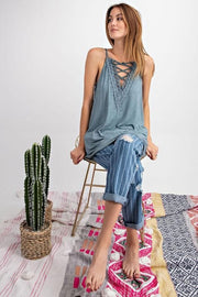 Easel Sleeveless Lace Up Front Cami Tunic
