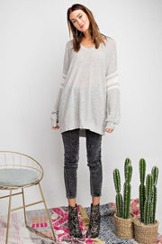Easel - Light Athletic Stripe Knit Sweater