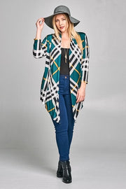 Plus Size Open Front Plaid Cardigan with Long Sleeves