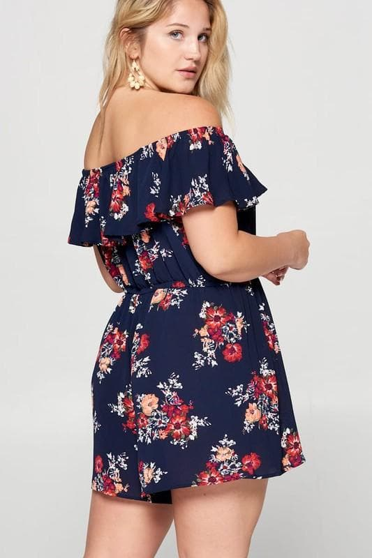 Plus Size Floral Off Shoulder Romper