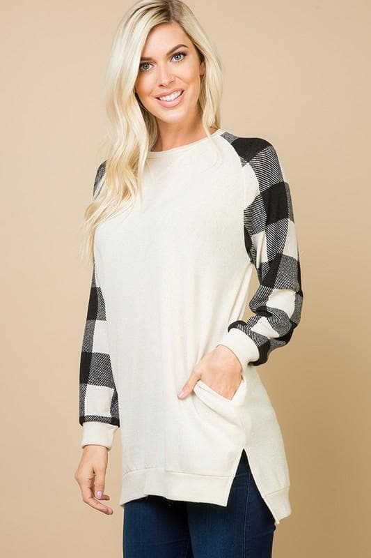 Crewneck Buffalo Plaid Sleeved Tunic Top