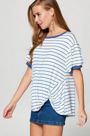 Striped Bubble Sleeve Top with Side Twist Detail