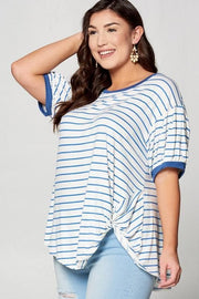 Plus Size Striped Bubble Sleeve Top with Side Twist Detail