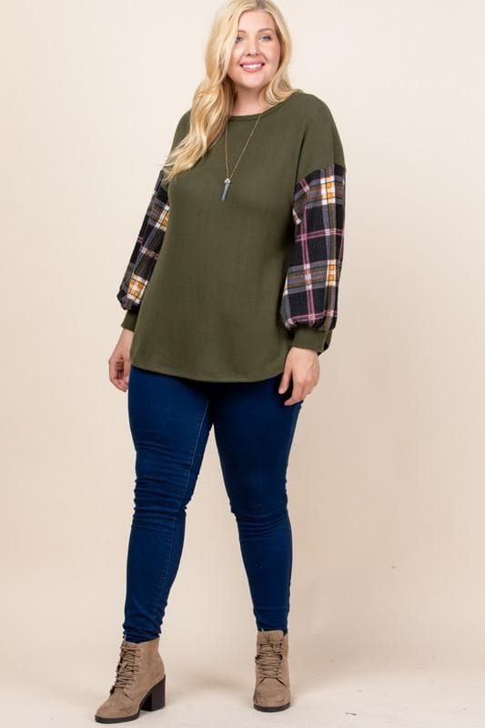 Plus Size Plaid On Your Sleeve Sweater