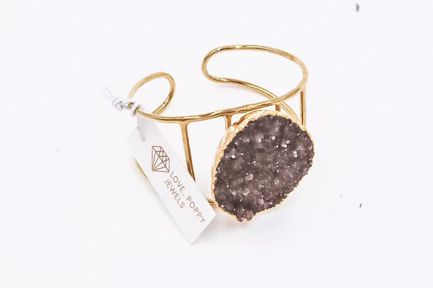 Love Poppy Druzy and Gold Stone Cuff