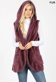 Plus Size Hooded Faux Fur Cocoon Vest with Side Pockets