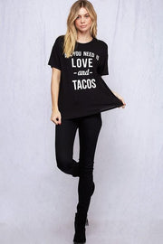 Short Sleeve All You Need is Love and Tacos Graphic Tee