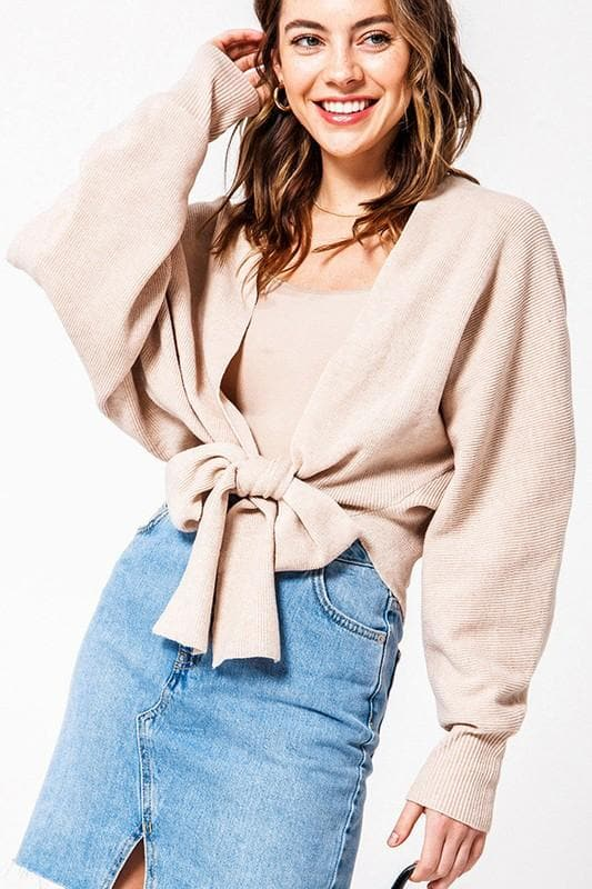 Long Sleeve Front Tie Knit Cardigan