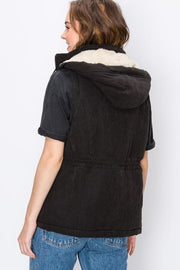 Cargo Zip Up Vest with Hood