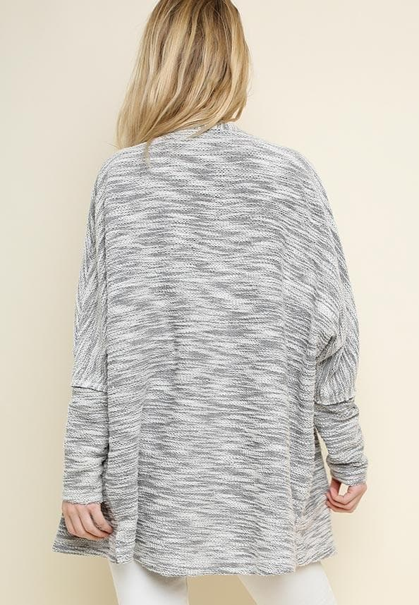 Long Sleeve Heathered Knit Open Front Cardigan with Pockets and Side Slits