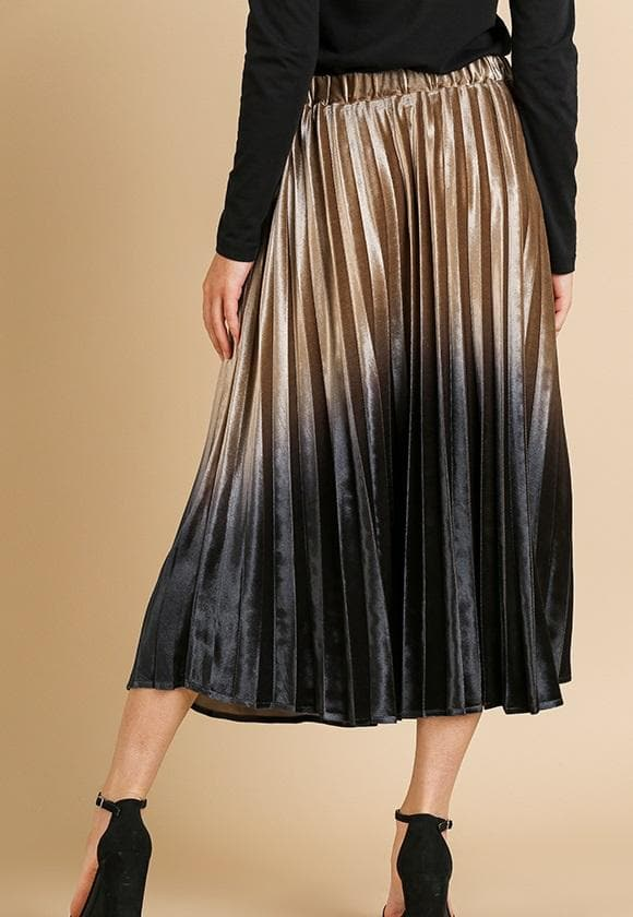 Ombre Velvet Pleated Midi Skirt with Elastic Waist