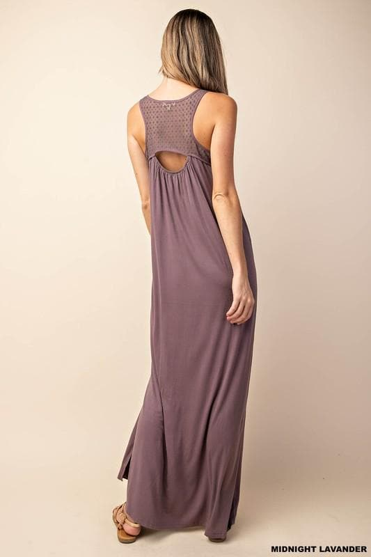 Mesh Neckline Open Back Maxi Dress