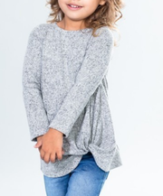 Toddler Two-Tone Hacci Front Knot Top