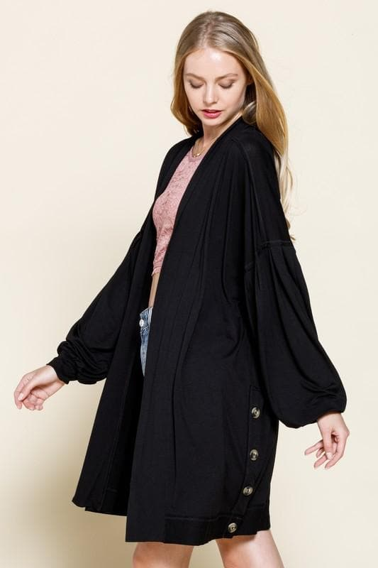 Jersey Pleated Volume Sleeves Side Buttoned Down Cardigan