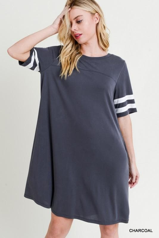 Plus Size Modal Varsity Stripe Dress w/ Pockets