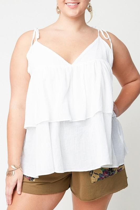 Plus Size Tiered Ruffle Cami Tank