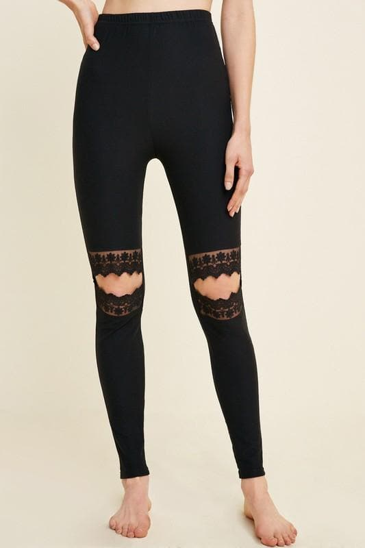 Lace Cut-Out Brushed Leggings