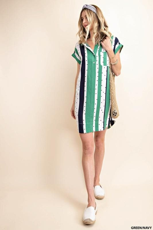 Dot & Stripe Mixed Shirt Dress with Bus Pocket