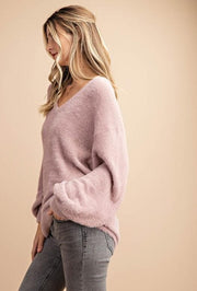 Soft Fur Knitted Deep V-Neck Sweater Top (S-2XL)