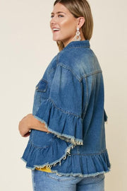 Plus Size Ruffle Stone Wash Denim Jacket