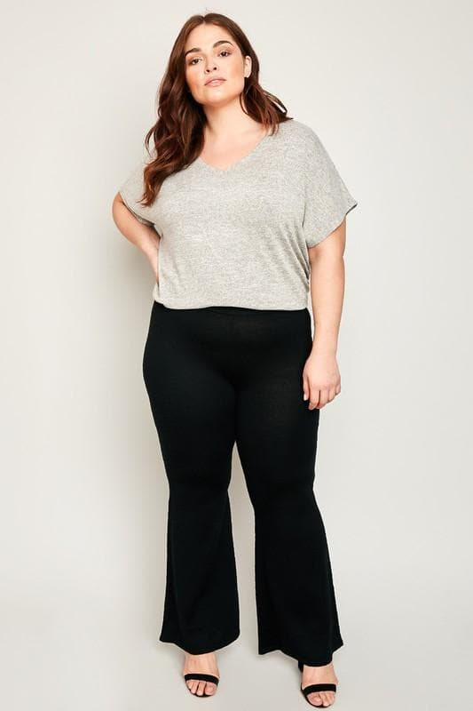 Plus Size Sweater Knit Bell Bottom Pants