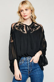 Sheer Floral Lace Peasant Top