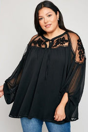 Plus Size Sheer Floral Lace Peasant Top