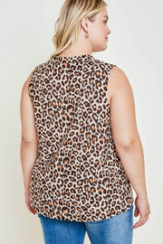 Plus Size Sleeveless Leopard Twist Collar Top