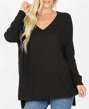 Doorbuster Plus Size Thermal Waffle Long Sleeve V-Neck Sweater