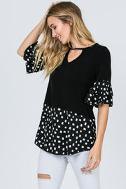 Top with Choker Neckline and Polka Dot Trim
