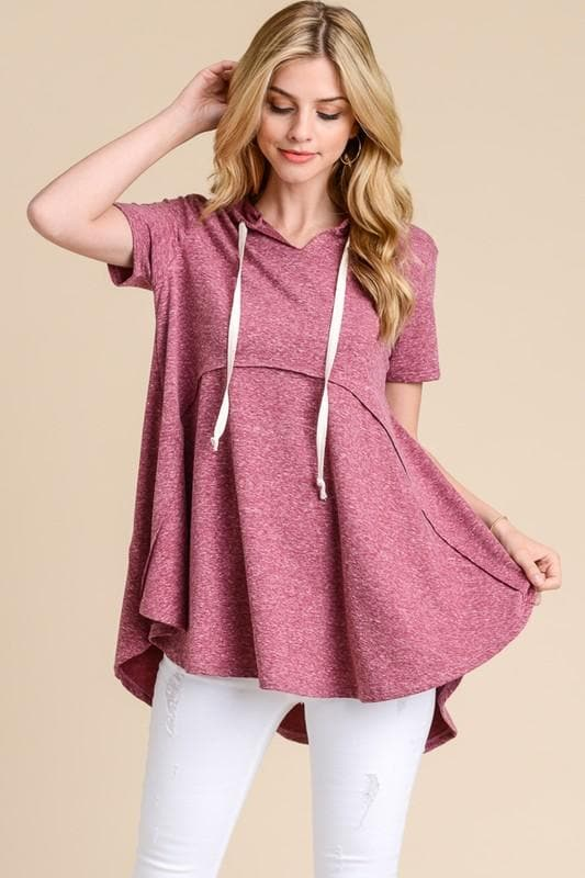 Oversized Raw Edge Pull Over Top