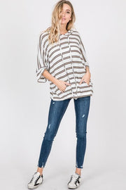 Short Sleeve Striped Hoodie Top with Kangaroo Pockets and Elastic on the Hem