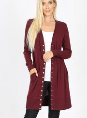 Thigh Length Snap Button Sweater Cardigan with Ribbed Detail