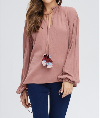 Ruffled Edge Collar Top w/Tassel Poms