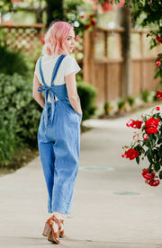 Back Tie Flared Denim Overalls with Front Pockets