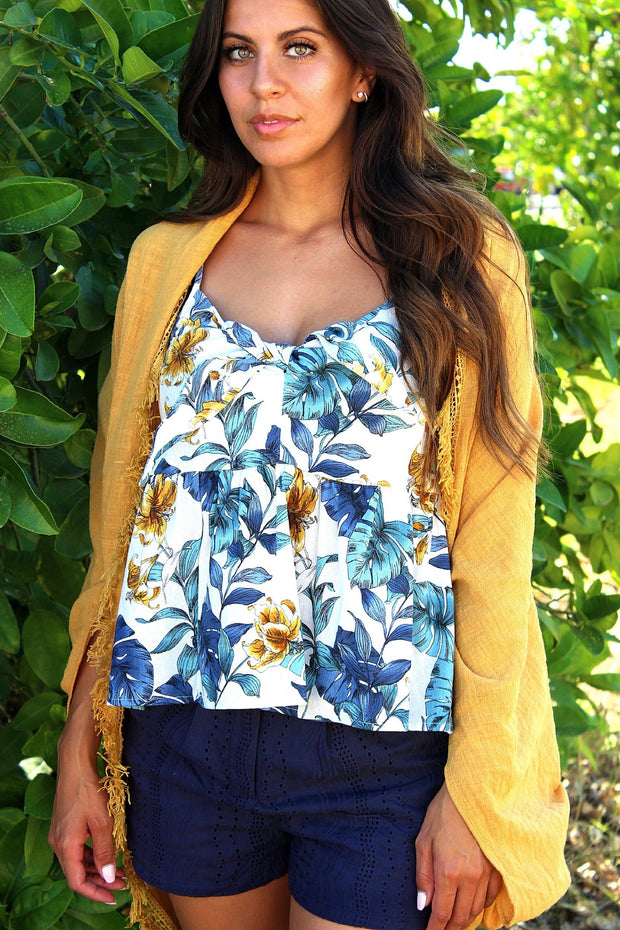 Tropical Print Bow Front Babydoll Cami Top