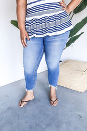 Judy Blue Plus Size High Waist Creased Slim Fit Jeans