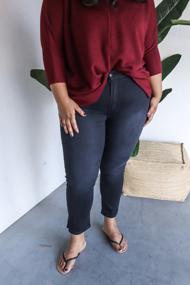 Plus Size High Waist Slim Straight Cut Crop Pant Side Slit