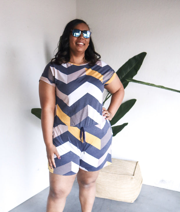 Plus Size Drawstring Chevron Romper
