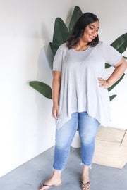 Plus Size Short Sleeve Tee with Back Keyhole