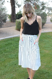 Striped Button-Up Skirt Featuring Self-Tie Closure Detail at Waist