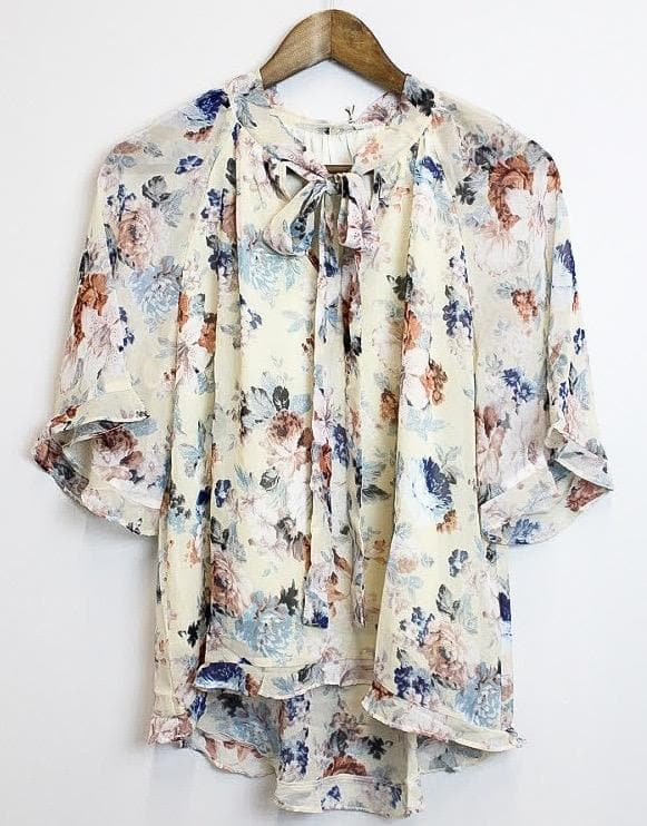 Peony Flower Print Woven Blouse