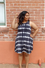 Plus Size Jersey Tie Dye Sleeveless Dress with Pockets