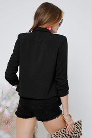 Long Sleeve Riverful Draped Front Sleeves Sharing Jacket