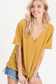 Thermal Waffle Short Sleeve Buttoned Front Knit Top