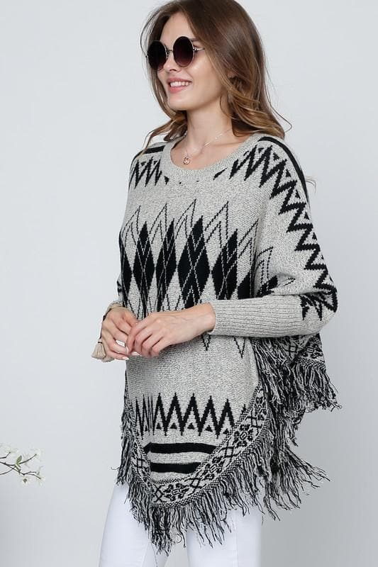 Printed Long Sleeve Round Neck Poncho