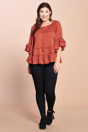 Plus Size Tiered Ruffled Hem Gauze Top